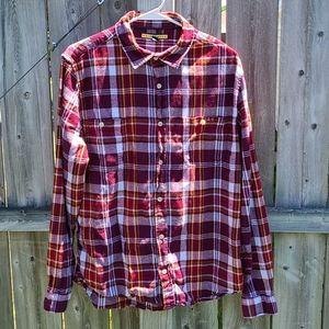 Maroon Plaid Flannel Shirt